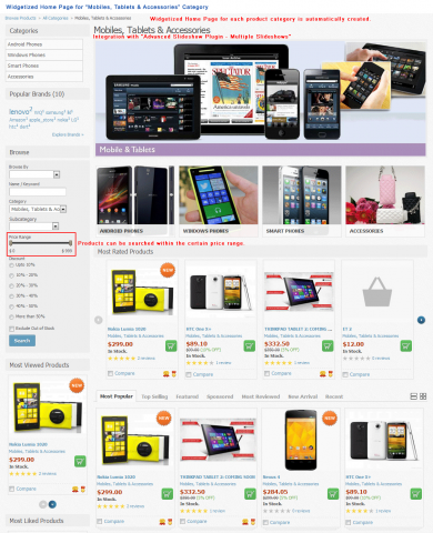 "Widgetized Home Page for ""Mobiles, Tablets & Accessories"" Category"