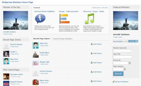Widgetized Members Home Page