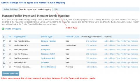 Admin: Manage Profile Types and Member Levels Mapping