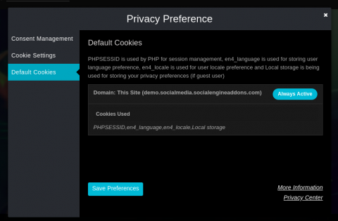 Privacy Preferences Popup