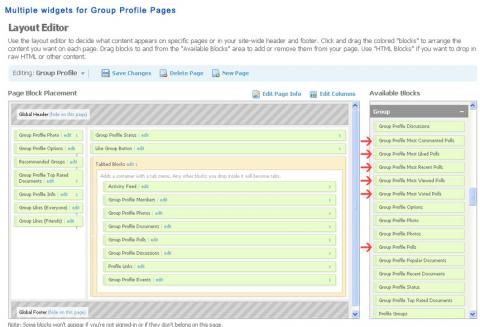 Multiple widgets for Group Profile Pages
