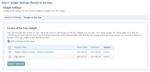 Admin: Widget Settings (Recipe of the Day)