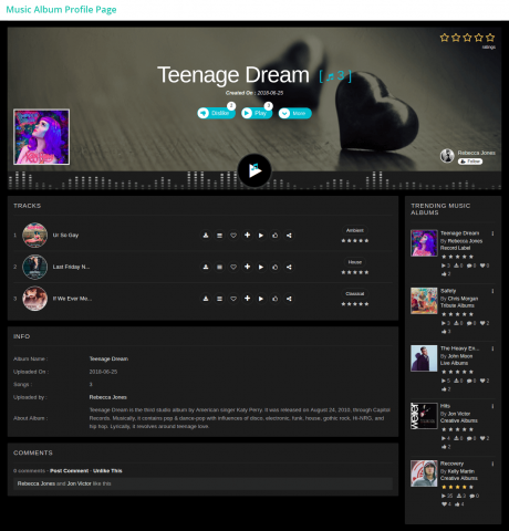 Music Album Profile Page