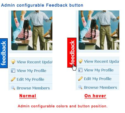 Admin configurable Feedback button