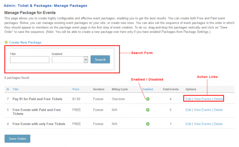 Admin: Ticket & Packages: Manage Packages: