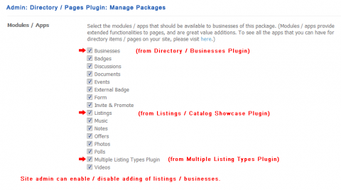 Admin: Directory / Pages Plugin: Manage Packages