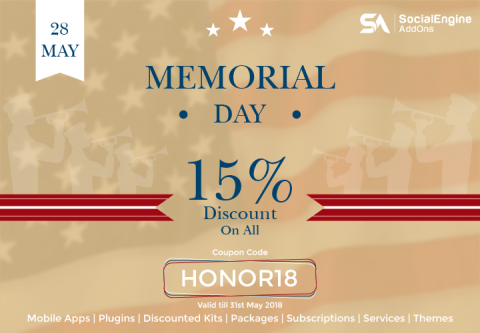Memorial Day Celebrations with Flat 15% Discount on Everything