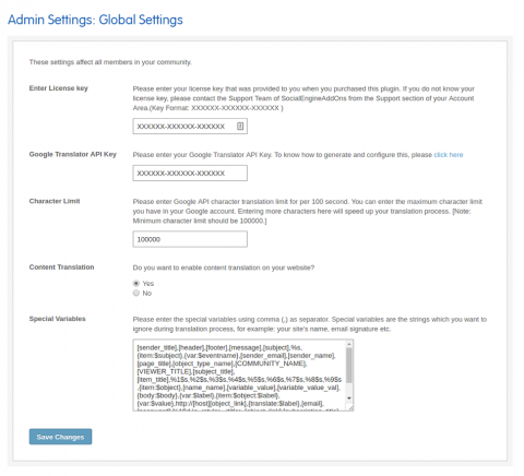 Admin: Global Settings