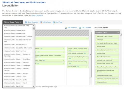 Widgetized Event pages and Multiple widgets
