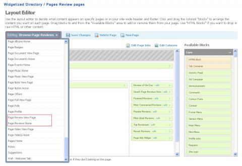Widgetized Directory / pages Review Pages