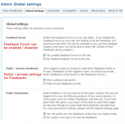 Admin Global settings