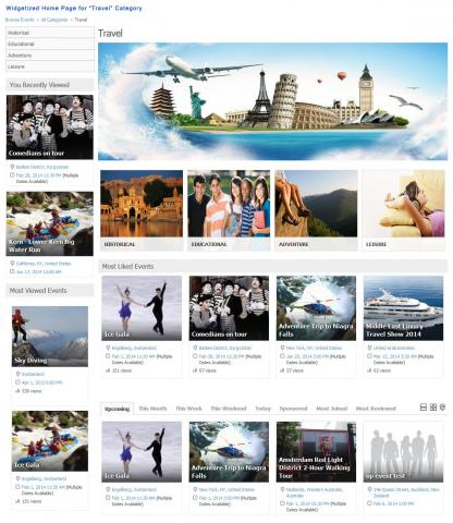 "Widgetized Home Page for ""Travel"" Category"