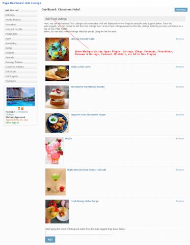 Page Dashboard: Add Listings
