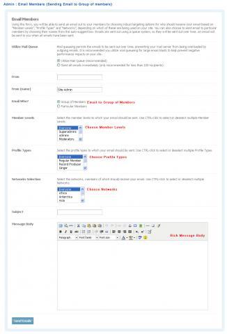 Admin : Email Members (Sending Email to Group of members)