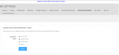 Update Subscribed Newsletter Types