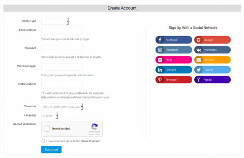 Signup With Social Login Options at the Right