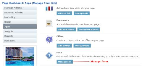 Page Dashboard: Apps (Manage Form link)