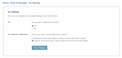 Admin: Ticket & Packages: Tax Settings