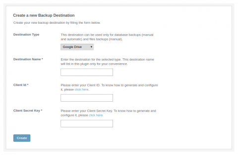 Admin: Create New Destination - Google Drive