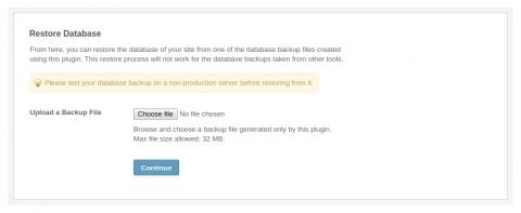 Admin: Restore Database