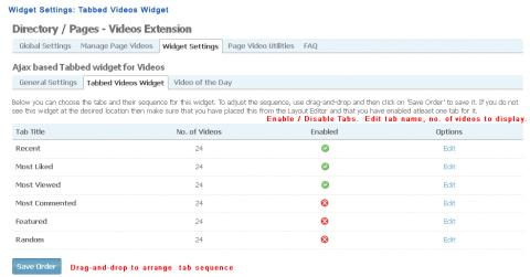 Admin: Widget Settings: Tabbed Videos Widget