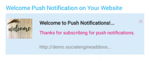 Welcome Push Notification on Your Website