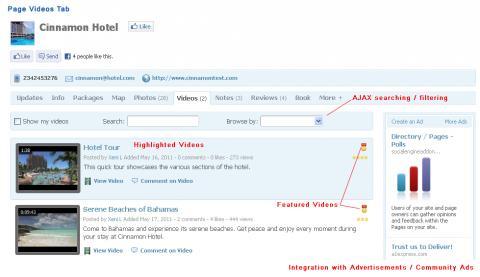 Page Videos Tab