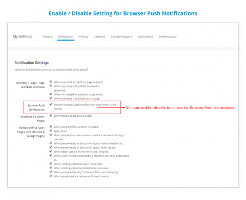 Enable / Disable Setting for Browser Push Notifications