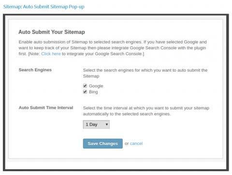 Sitemap: Auto-submit Sitemap Pop-up