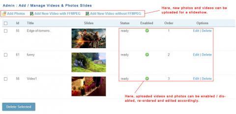 Admin: Add / Manage Videos & Photos Slides