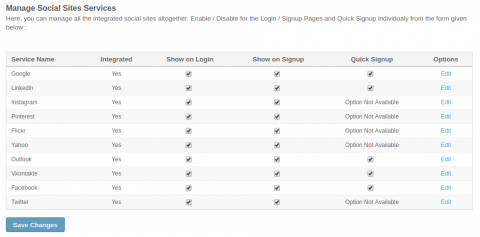 Manage Social Sites Services