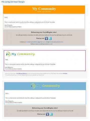 Pre-configured Email Designs
