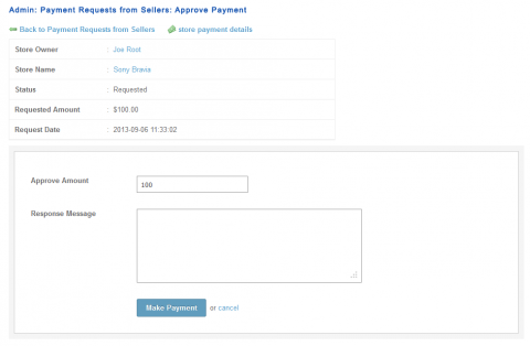 Admin: Payment Requests from Sellers: Approve Payment