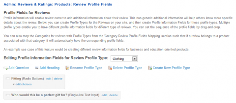Admin: Reviews & Ratings: Products: Review Profile Fields