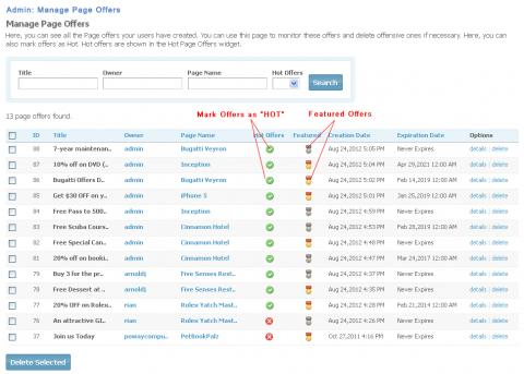 Admin: Manage Page Offers