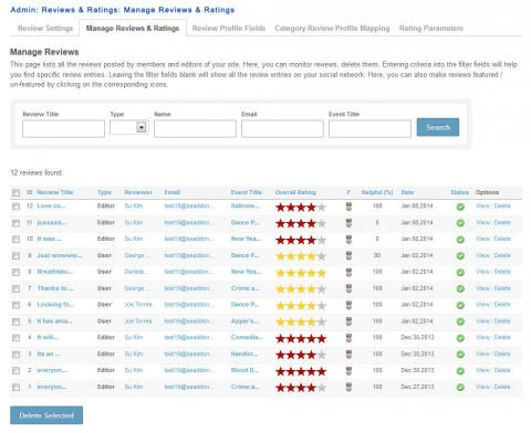 Admin: Reviews & Ratings: Manage Reviews & Ratings