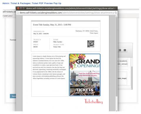 Admin: Ticket & Packages: Ticket PDF Preview Pop Up