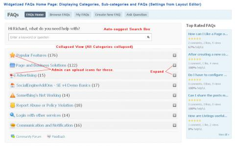 Widgetized FAQs Home Page: Displaying Categories, Sub-categories and FAQs in Collapsed Mode (Settings from Layout Editor)
