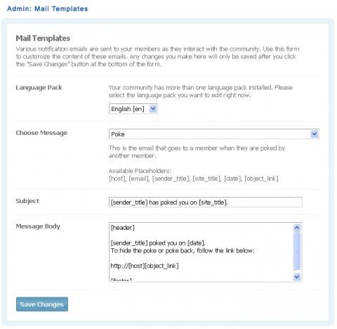 Admin: Mail Templates
