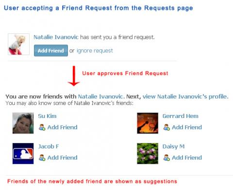 User accepting a Friend Request from the Requests page