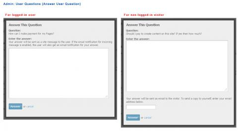 Admin: User Questions (Answer User Question)