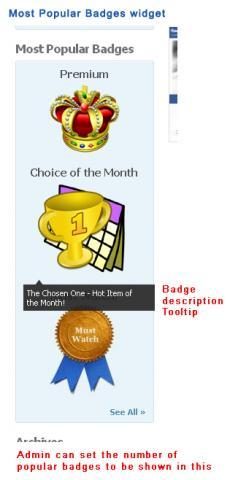 Most Popular Badges widget