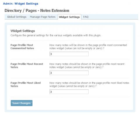 Admin: Widget Settings