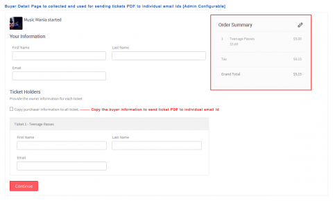 Buyer Detail Page to collected and used for sending tickets PDF to individual email ids [Admin Configurable]