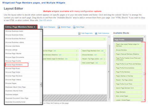 Widgetized Page Members pages, and Multiple Widgets