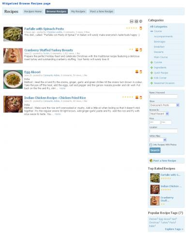 Widgetized Browse Recipes page