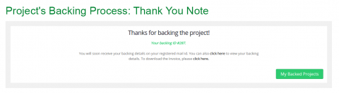 Proejct's Backing Process: Thank You Note