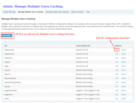 Admin: Manage Multiple Users Caching