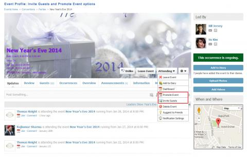 Event Profile: Invite Guests and Promote Event options