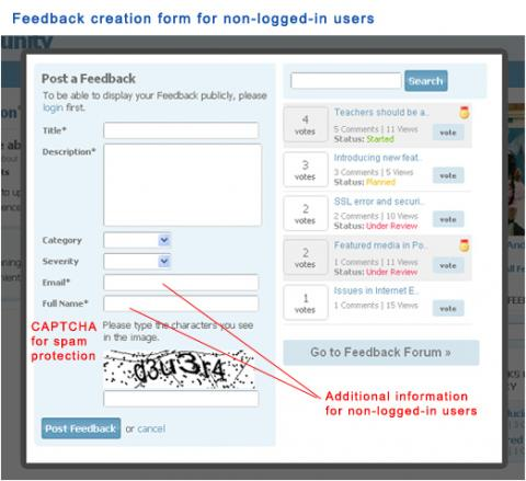 Feedback creation form for non-logged-in users